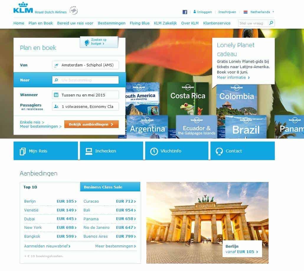 Een effectief website menu - KLM 1