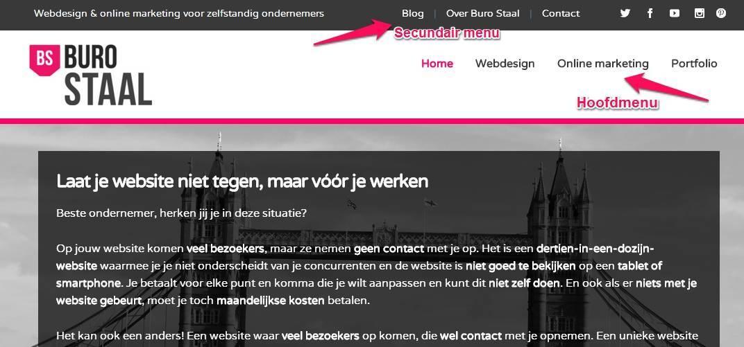 Effectief website menu