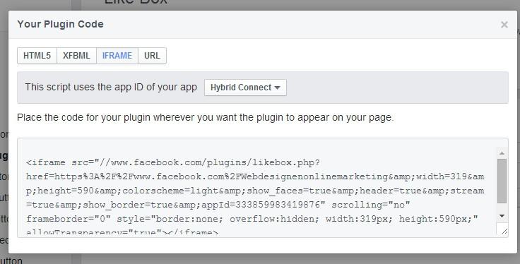 Facebook like box code