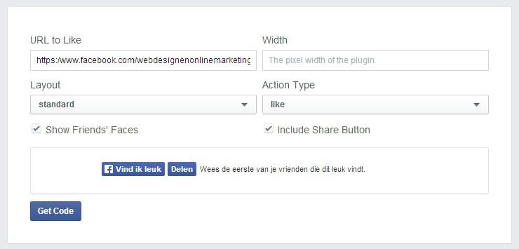 Facebook like button op je WordPress website