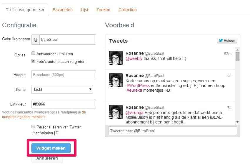 Twitter op je WordPress website