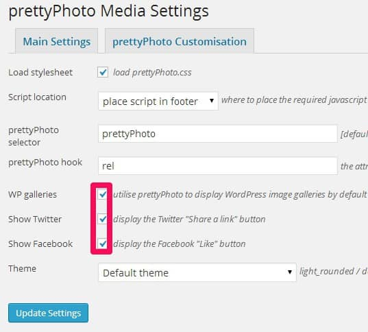 WordPress lightbox met prettyPhoto media