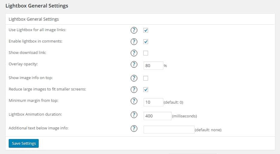 Instellingen plugin WP Lightbox 2