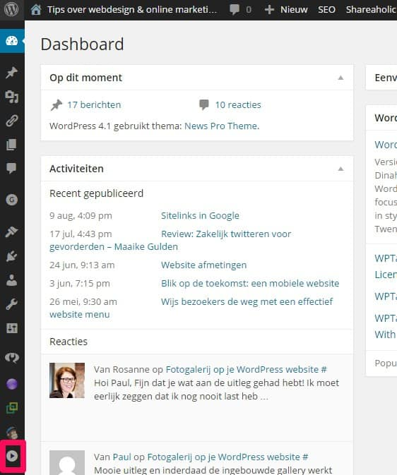 WordPress dashboard menu verdwenen