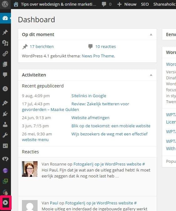 WordPress dashboard menu verdwenen