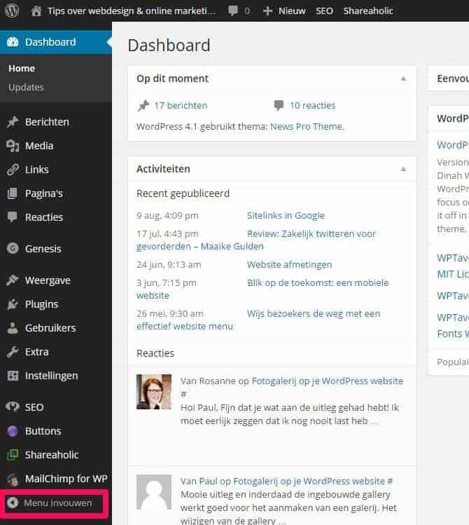 WordPress dashboard menu zichtbaar