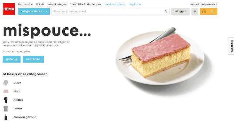 Goede 404-pagina HEMA