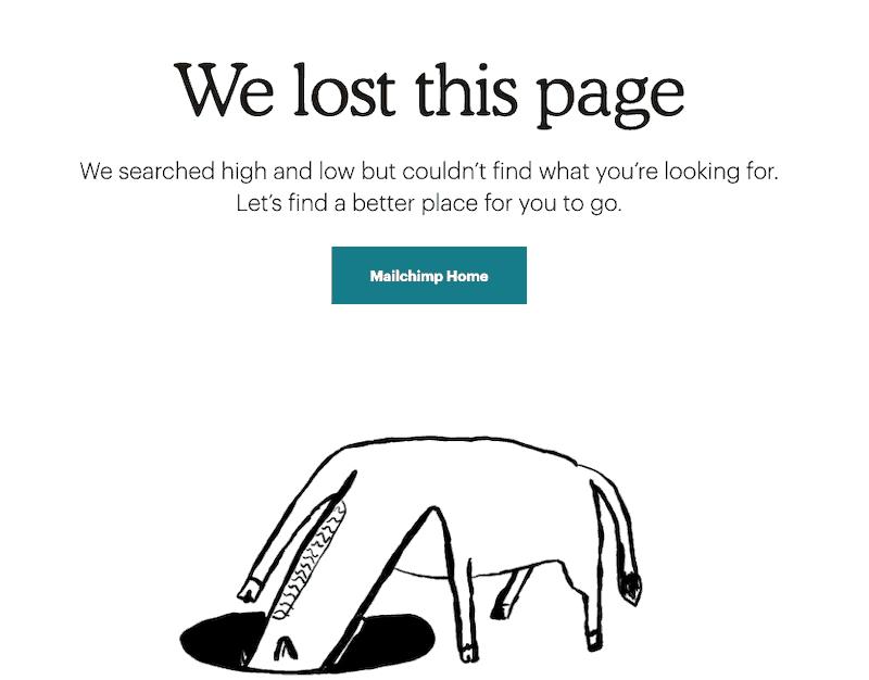grappige 404 pagina Mailchimp