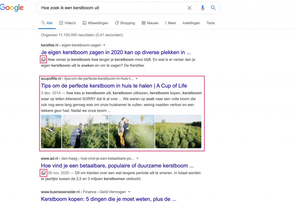 experiment google weergave zoekresultaten