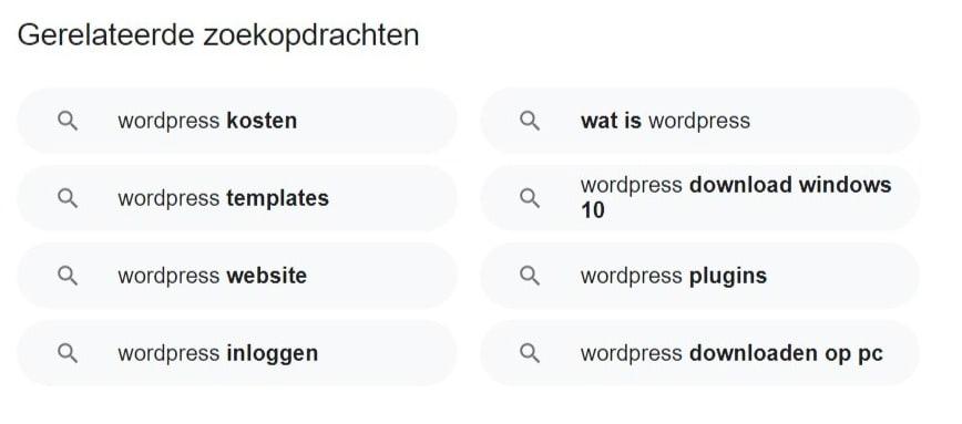 Schermafbeelding met voorbeeld voor gerelateerde zoekopdrachten als je in Google op WordPress zoekt.