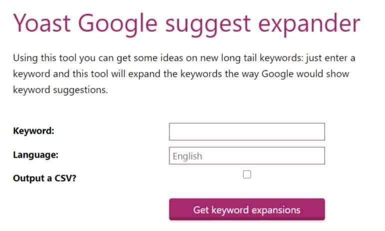 Schermafbeelding van de Yoast Google Suggest Expander tool voor blog onderwerpen.