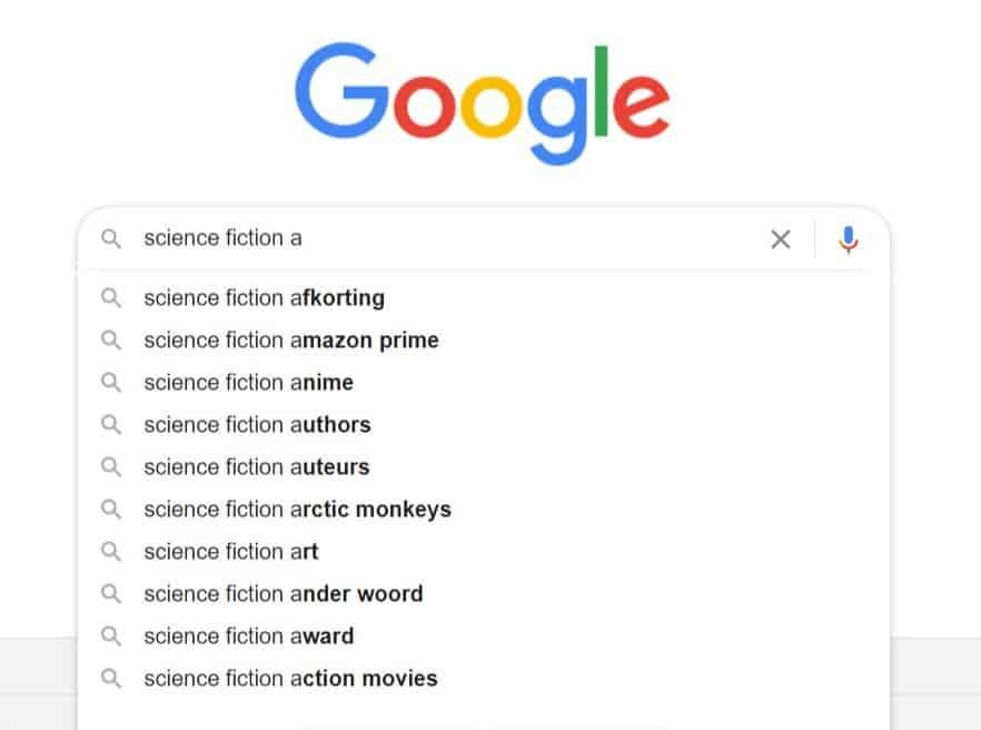 schermafbeelding van een Google zoekopdracht waarin je na science fiction een a plaatst en Google suggesties geeft voor specifiekere zoekopdrachten die met een a beginnen.