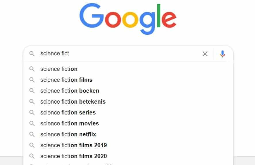 Schermafbeelding van een zoekopdracht op science fiction waarbij Google suggesties van specifiekere zoekopdrachten weergeeft.
