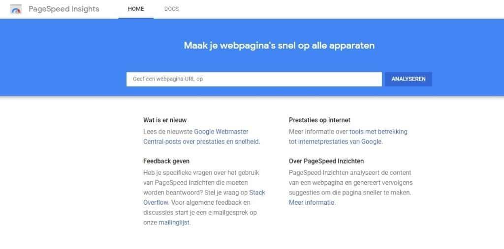 Snelheid controleren in Google Pagespeed Insigts