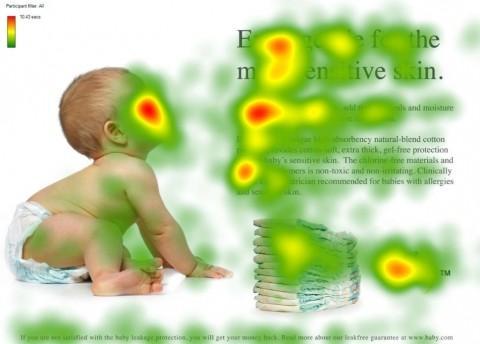 Neuromarketing voorbeeld - Advertentie met baby die in de richting van de tekst in de advertentie kijkt.