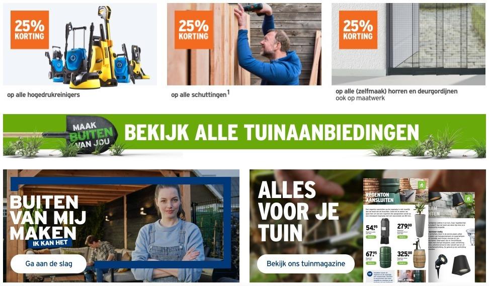 Schermafbeelding van de homepage van Gamma.nl