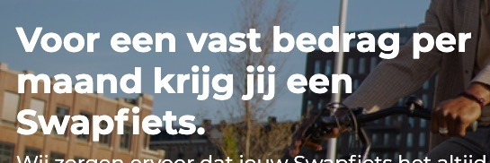 Schermafbeelding van de kop van de homepage van swapfietsen.nl. Kristalhelder, en dat helpt met leads genereren.