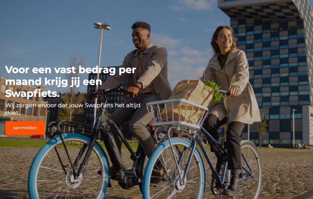 schermafbeelding van de video op de homepage van swapfiets.nl. Zo'n afbeelding helpt je leads genereren.
