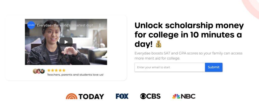 Schermafbeelding van everydae.com, een goed voorbeeld van een header waarmee je leads kunt genereren.