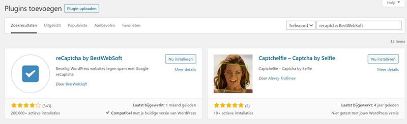 Schermafbeelding van de zoekresultaten wanneer je in de WordPress plugin repository naar recaptcha BestWebSoft zoekt.