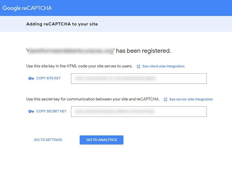 Schermafbeelding van het instellingenscherm van de Google reCAPTCHA tool zodat je de instellingen over kunt nemen.