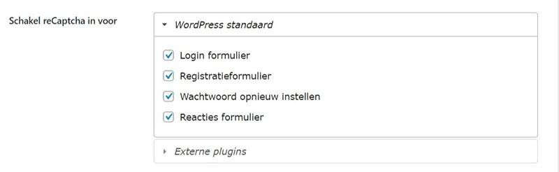 Schermafbeelding van een deel van de instellingen van de BestWebSoft plugin om formulier spam te blokkeren.