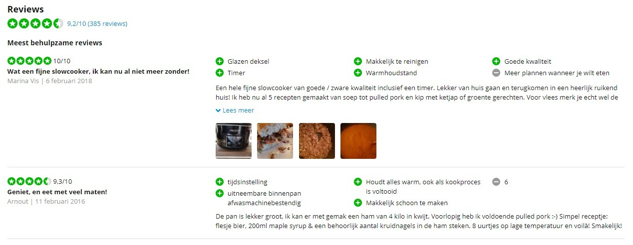 Schermafbeelding van CoolBlue.nl met daarop reviews van producten. Dit soort social proof helpt vertrouwen wekken en twijfels wegnemen.