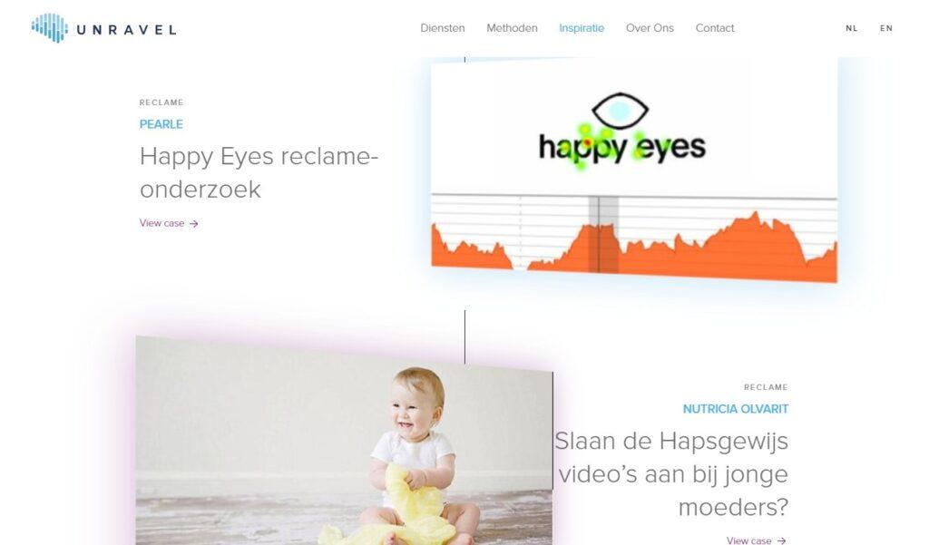 Schermafbeelding van UnravelResearch.com, een voorbeeld van hoe case studies ingezet kunnen worden als sociale bewijskracht.