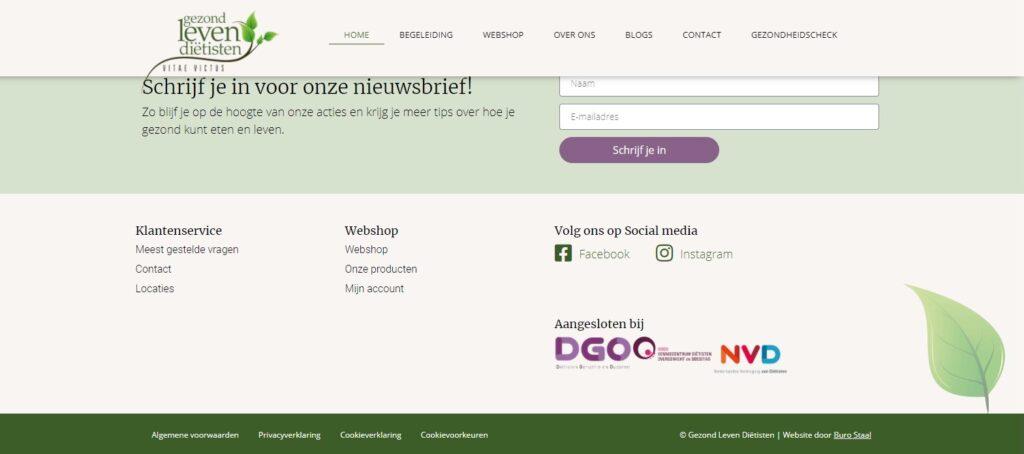 schermafbeelding van de footer van GezondLevenDietisten.nl met daarin de logo's van de vakorganisaties waar ze lid van zijn.