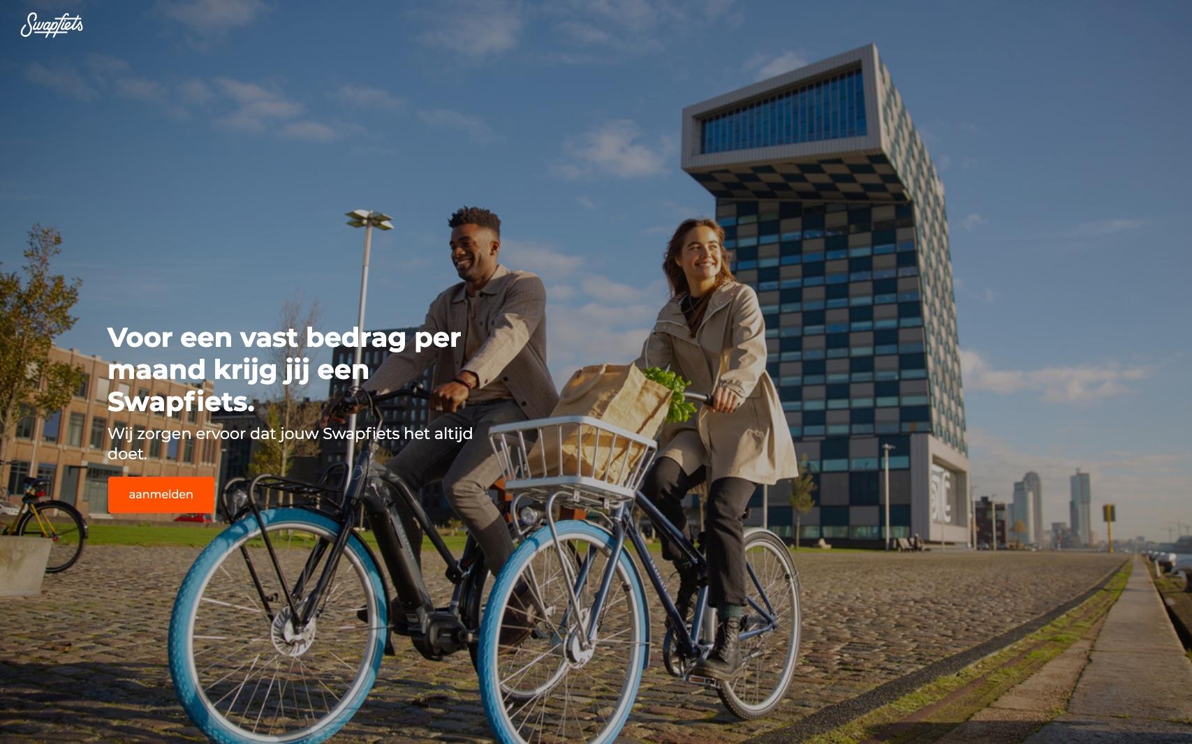 Schermafbeelding van swapfietsen.nl, een goed voorbeeld van een header waarmee je leads kunt genereren.