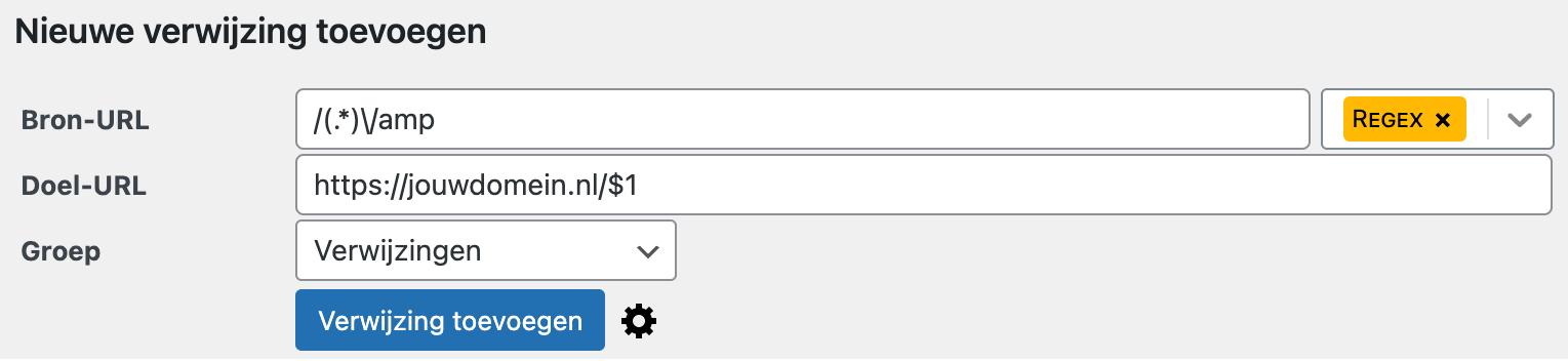Schermafbeelding waarin je ziet hoe je in WordPress een Google AMP url kunt redirecten