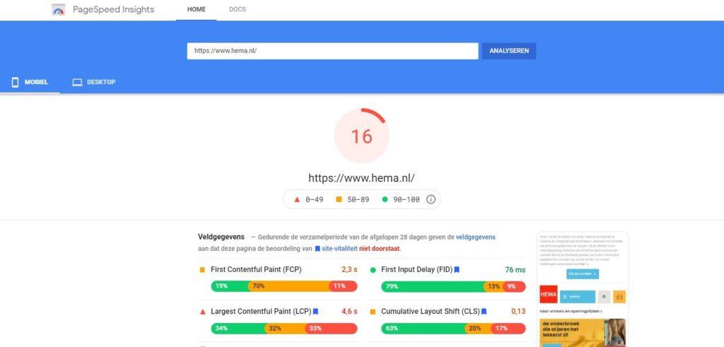 Schermafbeelding van scores in de Google Web Vitals test tool op de website van Google
