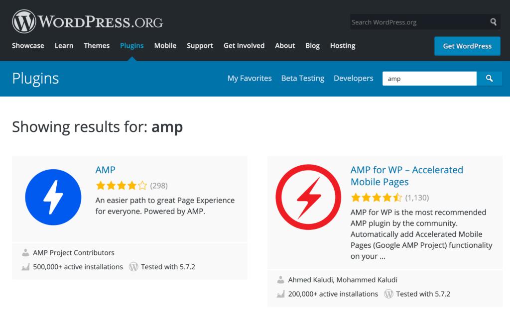 Schermafbeelding van de twee Google AMP plugins in de WordPress plugin repository