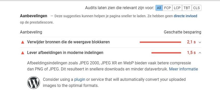 schermafbeelding van de Google SiteSpeed tool met het advies om moderne alfbeeldingsformaten als WebP te gebruiken