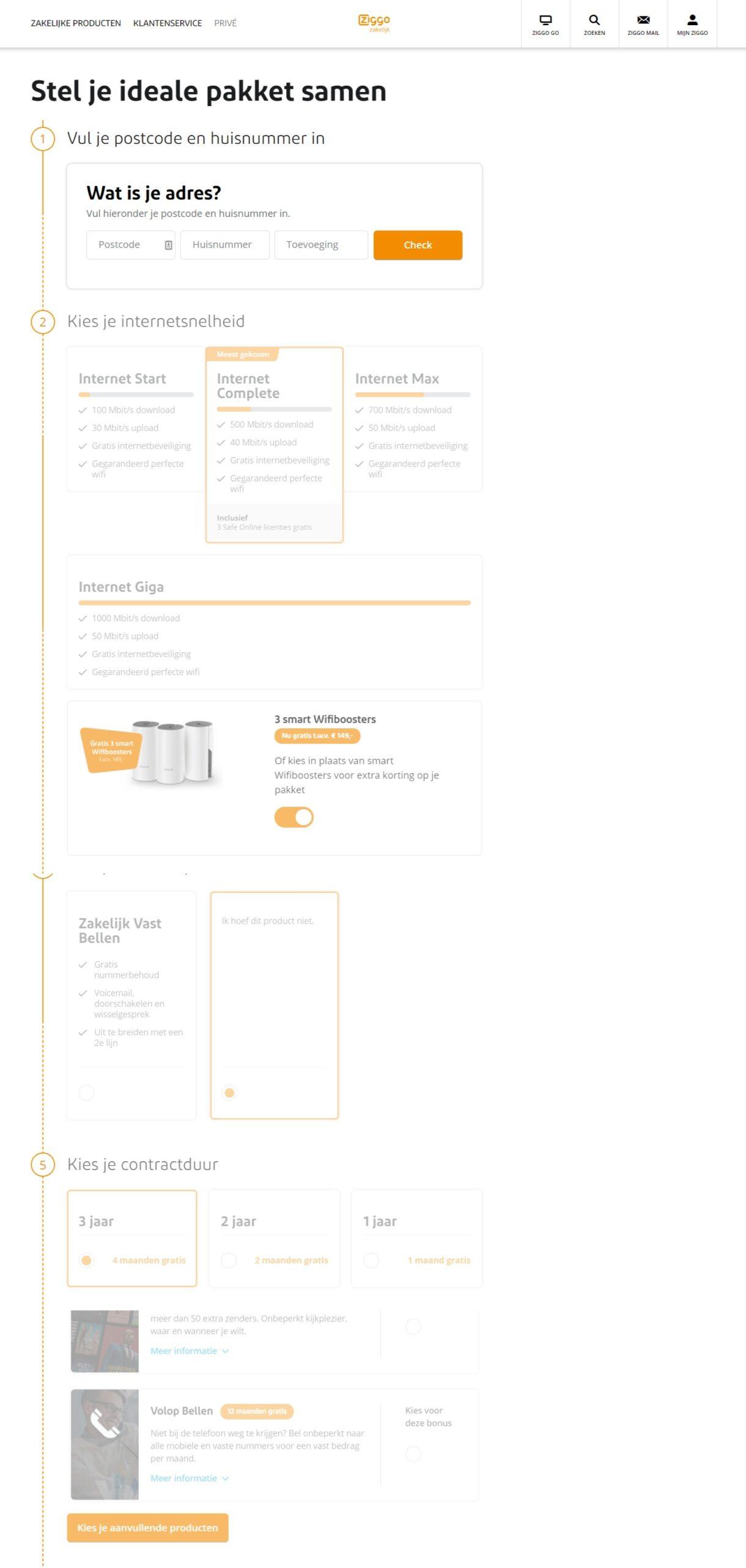 Ziggo is goed bezig met online formulieren maken. Dit is een goed voorbeeld van een duidelijk, gebruiksvriendelijk formulier,