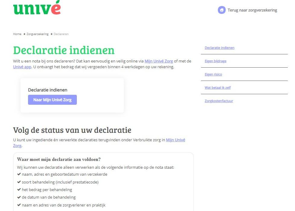 Schermafbeelding van de website van Unive waar je voor je naar het online formulier voor declaraties gaat eerst kunt zien waar je declaratie aan moet voldoen.
