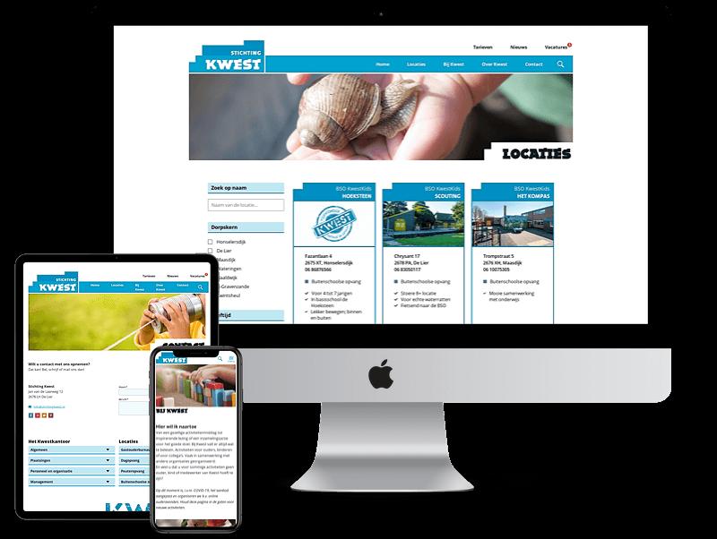 Schermafbeeldingen van diverse pagina's van website Stichting Kwest op diverse devices.